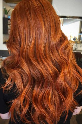 Blended Copper Hair With Highlights #redhair #wavyhair
