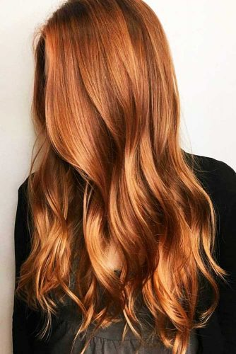 Natural Copper Balayage #redhair #wavyhair #longhair