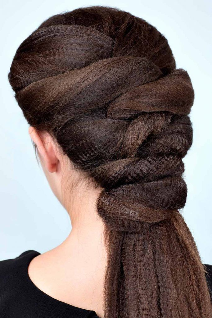 Full Braided Top Into A Low Wavy Ponytail