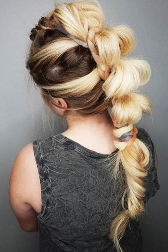 Feminine Bubbled Faux Hawk #braids #fauxhawk