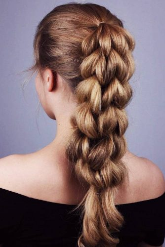 Four Strand Pull Through Braid #crimpedhair #braids #ponytail