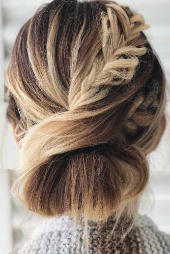French Braid Into Low Updo #updo #braids
