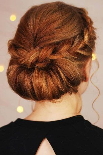 French Crown Braid With Low Twist #updo #braids #crimpedhair
