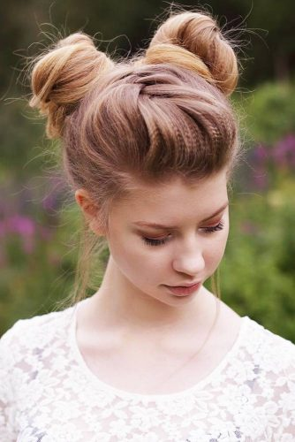 Space Buns With Crimped Hair #braids #updo #buns