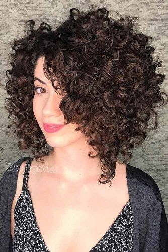 Asymmetrical Brown Lob #curlybob #haircuts #bobhaircuts #longbob