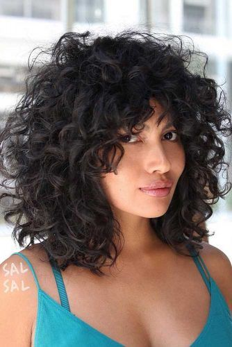 Curly Long Bob With Bangs #curlybob #haircuts #bobhaircuts #layeredbob #longbob
