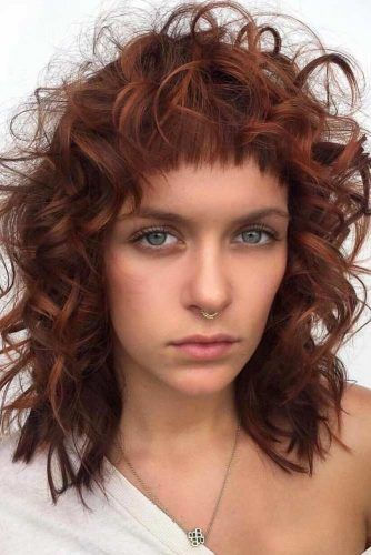 Long Curly Bob With Baby Straight Bangs #curlybob #haircuts #bobhaircuts #layeredbob #longbob