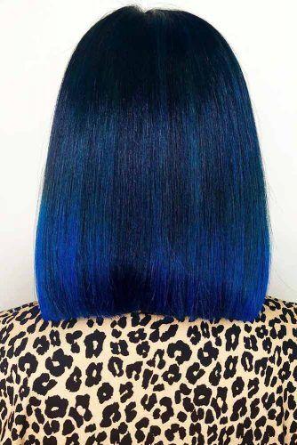 Blue Black With Teal Tones Blunt #blueblackhair #darkbluehair