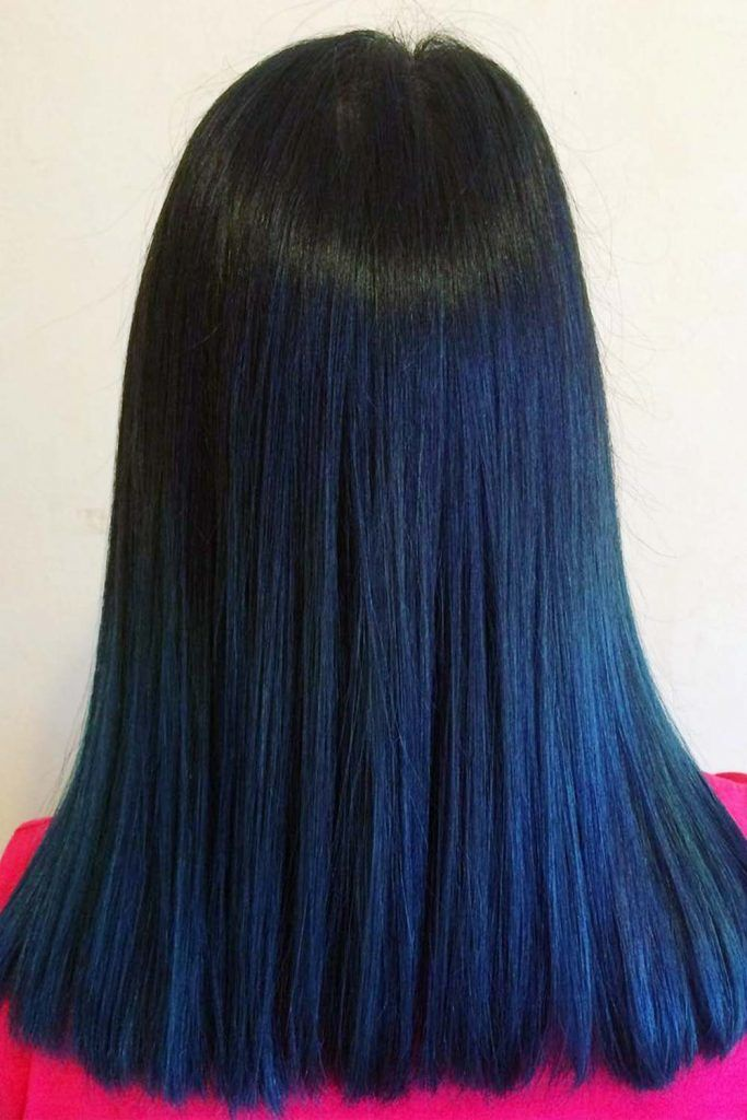 Navy Blue Coloring On Dark Hair #blueblackhair #darkblueblackhair