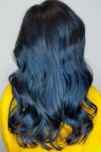 Cold Blue Black Balayage Ink #blueblackhair #darkbluehair