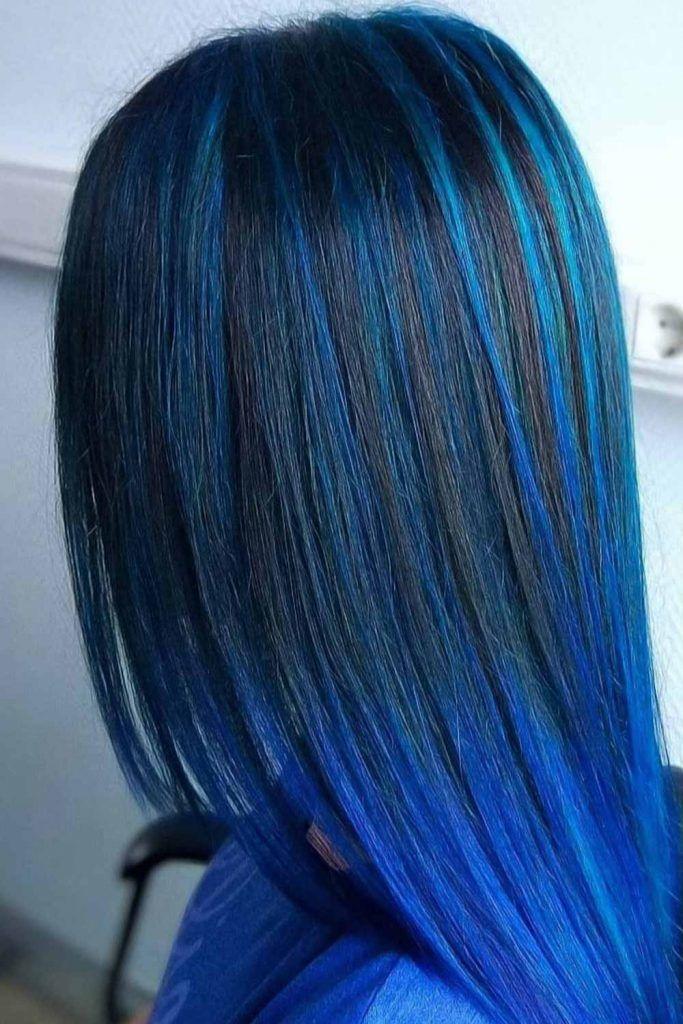 Dark Metallic Blue Highlights #blueblackhair #darkblueblackhair