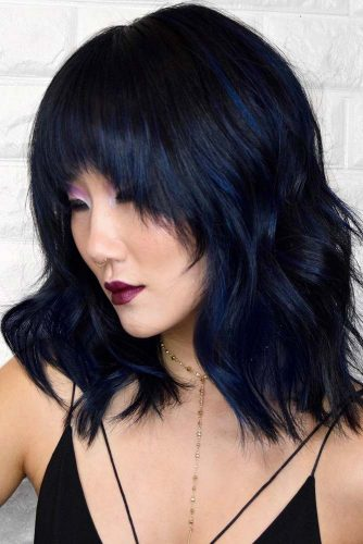 Dark Metallic Blue Highlights #bluehair #brunette #highlights