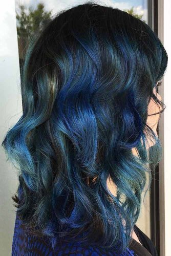 Denim Blue On Black Hair #brunette #bluehair #highlights