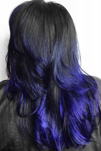Navy Blue Ends On Black Hair #brunette #wavyhair