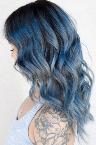 Frosted Black Blue Hair #brunette #highlights
