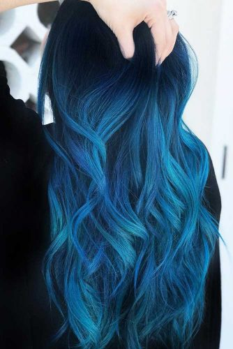 Indigo Blue Black #bluehair #ombre #brunette