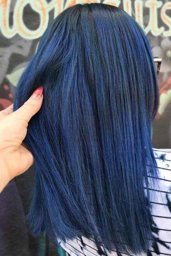 Ink Blue Black Straight #blueblackhair #darkbluehair