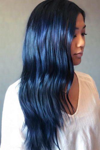 Ink Blue Black Long #blueblackhair #darkbluehair