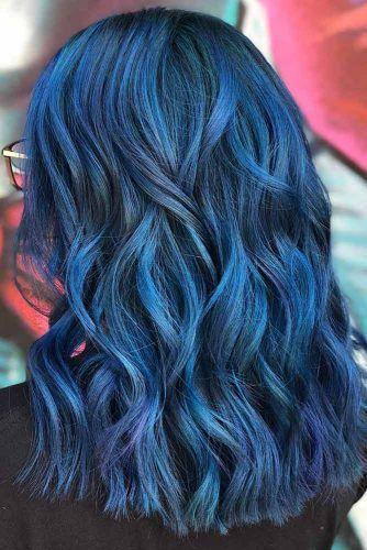 Ink Blue Black Waves #blueblackhair #darkbluehair