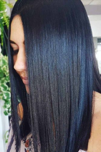 Jet Black With Dark Blue Tint #brunette #straighthair