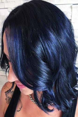 Midnight Blue Highlights On Dark Hair #brunette #wavyhair #bob