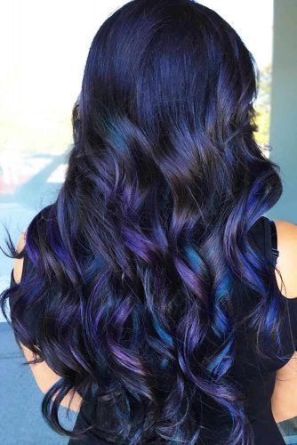 Magical Blue & Violet Highlights #brunette #highlights