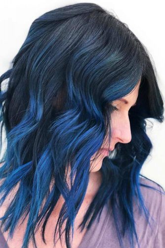 Deep And Gentle Vibrant Blue #brunette #ombre