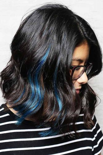 Peek-A-Boo Blue Coloring #brunette #bob