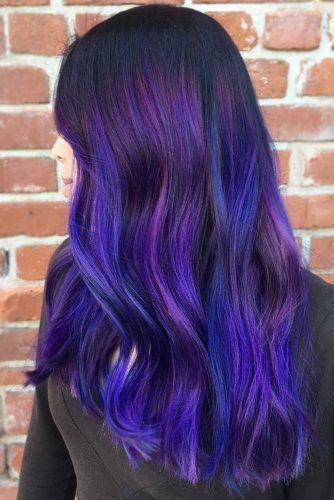 Purplish Blue Black Hair Balayage #blueblackhair #darkbluehair