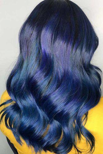 Purplish Blue Black Hair Layers #blueblackhair #darkbluehair