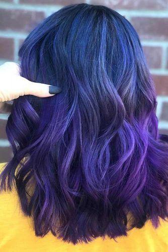 Purplish Blue Black Hair Ombre #blueblackhair #darkbluehair