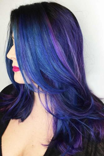 Dark Blue With Purple Tones #brunette #highlights