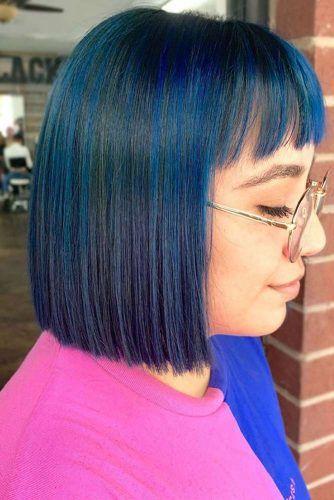 Blue Black With Teal Tones Bangs #blueblackhair #darkbluehair