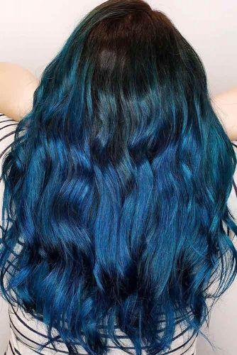 Cold Blue Black Balayage Sleek #blueblackhair #darkbluehair