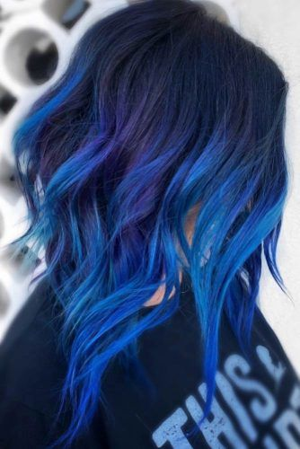 Dark Blue With Bright Elements #brunette #highlights