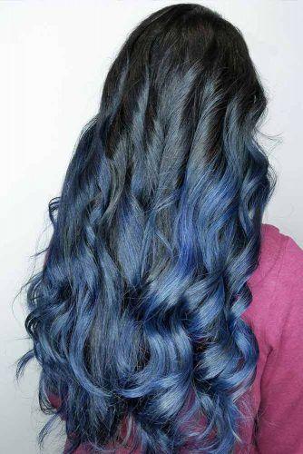 Cold Blue Black Balayage Wavy Locks #blueblackhair #darkbluehair