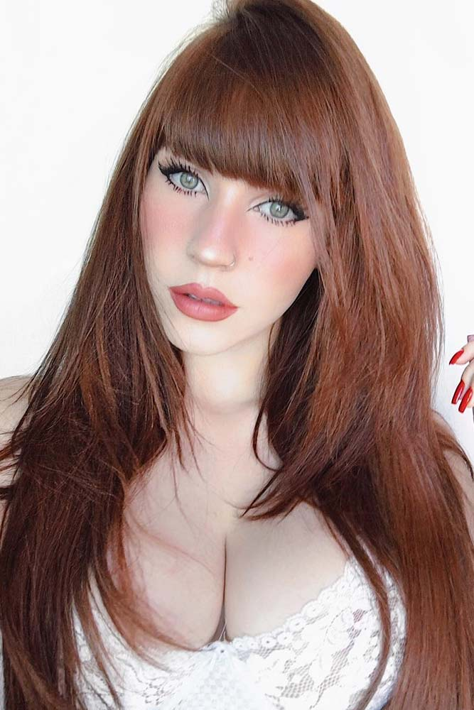Seductive Auburn Hair Color #redhair #longhair #bangs