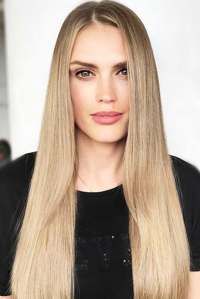 Stylishly Neutral Beige Blonde #blondehair #straighthair #longhair