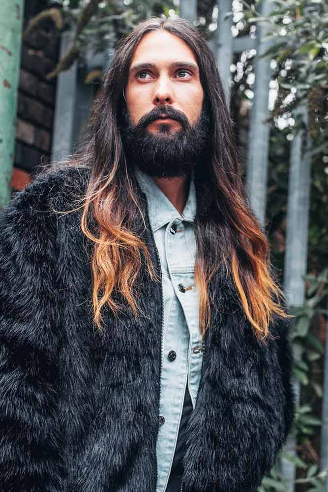 Long Straight Hair With Middle Parting #ombrahair #straighthair #menshairstyles #menslonghairstyles