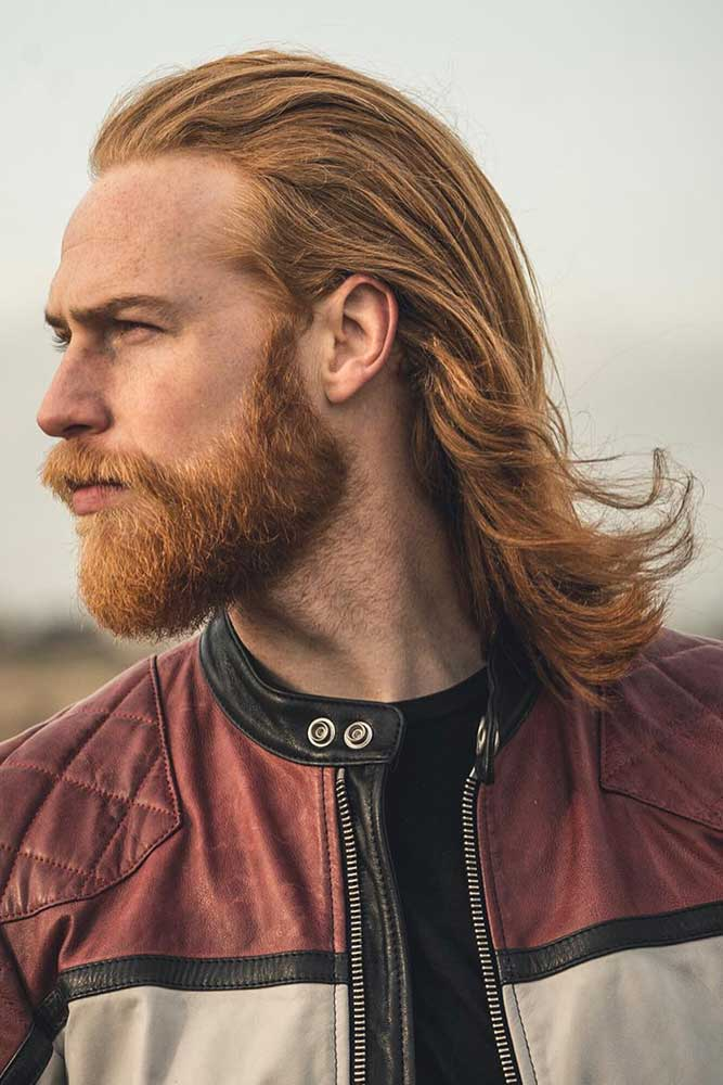 Slick Back Hair #slickback #redhair #menshairstyles #menslonghairstyles