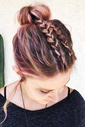 Messy Braids Into Top Knot #messyhair #braids #bun