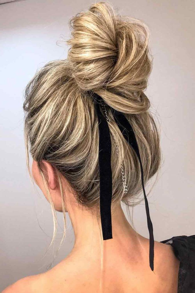 High Bun With Hair Ribbon #hairribbon #simplehairstyles