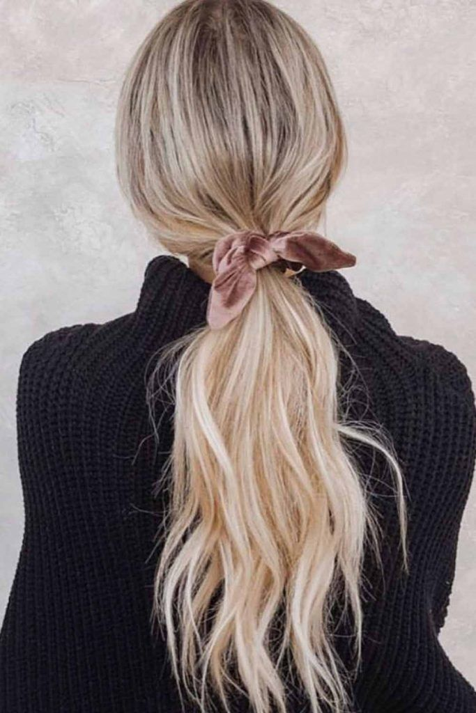 Low Ponytail With Ribbon #ponytails #hairstyles