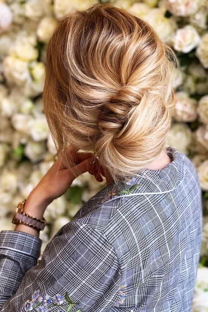 Low Twisted Bun #updo #messyhair» width=«667» height=«1000» srcset=