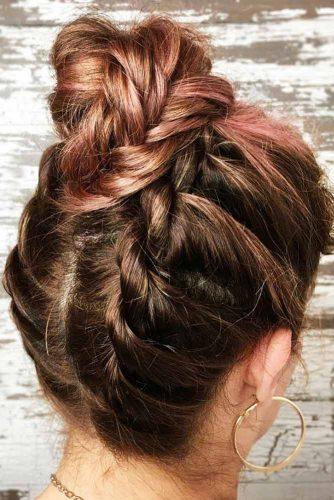 Flat Twists Into Feminine Bun #messyhair #braids #updo