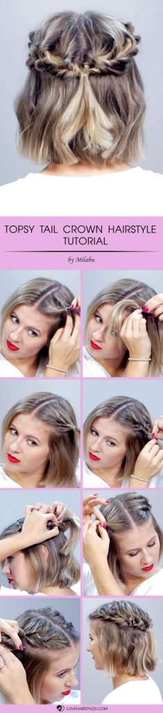 Topsy Tail Crown Hairstyle For Short Hair #topsytail #tutorials #hairstyles #shorthair