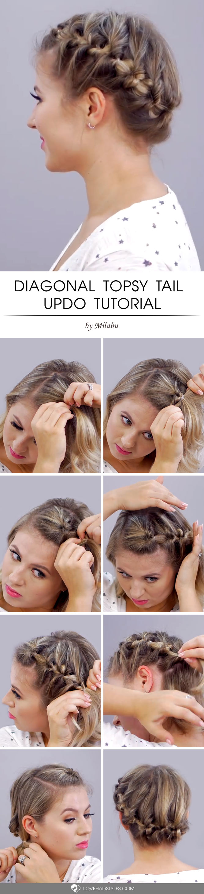 Diagonal Topsy Tail Updo #topsytail #tutorials #hairstyles #updohairstyles