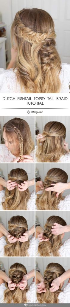 Dutch Fishtail Topsy Tail Braid #topsytail #tutorials #hairstyles #braids #longhair