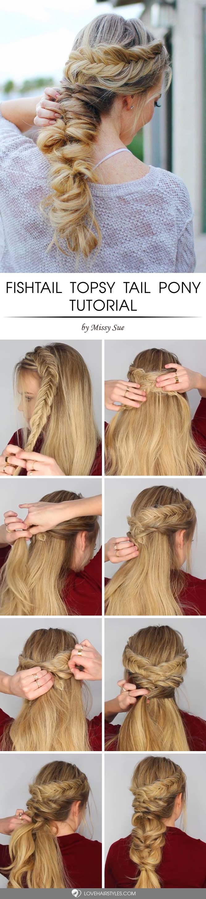 Fishtail Pony #topsytail #tutorials #hairstyles