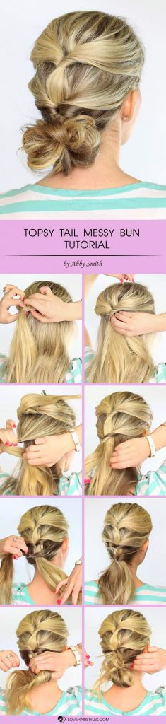 Topsy Tail Messy Bun Hairstyle #topsytail #tutorials #hairstyles #bunhairstyles #longhair